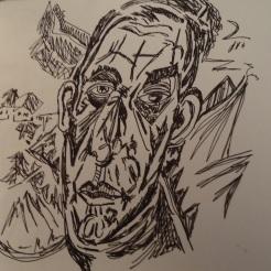 Copy of a portrait of Henry Van de Velde done by Ernst Ludwig Kirchner