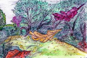 Leaves falling in the garden