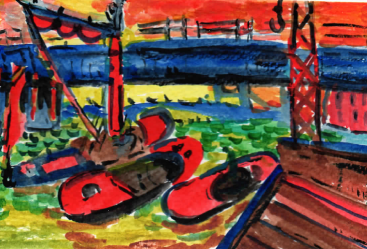 79A Barges in the Thames by Andre Derain