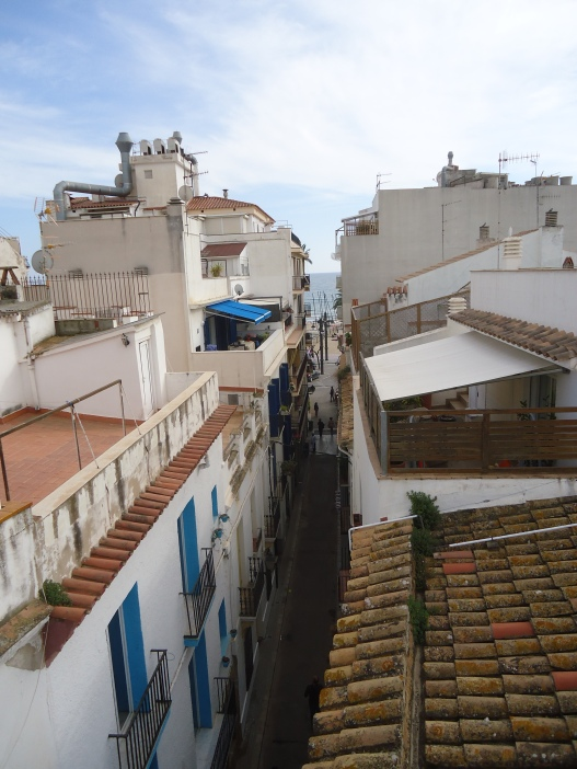 View down Carer del Taco in Sitges