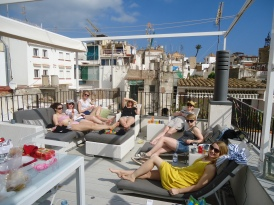 On le terrace in Sitges