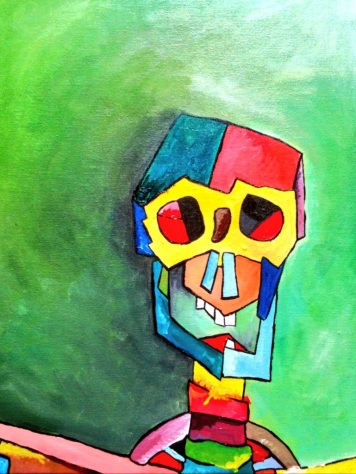 'I've got nothing' Skeleton 1 May 2014 50x40cm