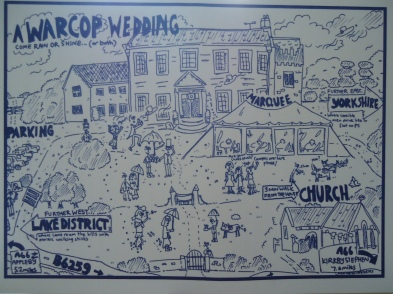 A wedding map for the back page of my friends wedding invitations Feb 2014