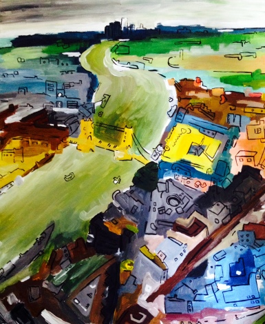 Thames on a Smoggy Day July 2014 50x60cm SOLD