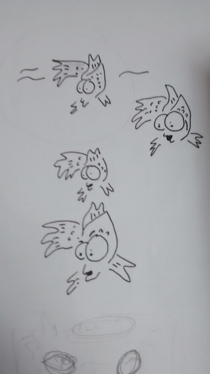 Sketches for single panel cartoon