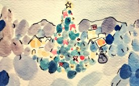290- Christmas scene in blobs
