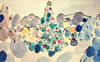 290- Christmas scene in blobs