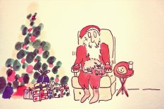 291a Father Christmas and the cat