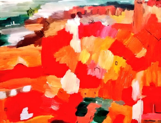 Brussels Red Roofs Deaux Oct 2014 40x50cm