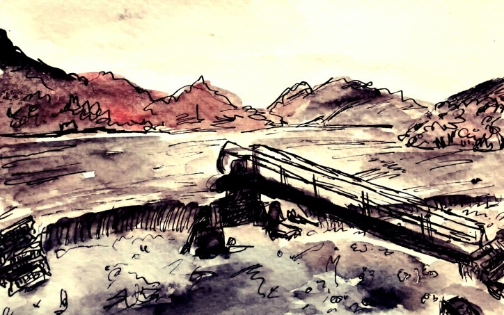 307- Crummock overflowing Lake District
