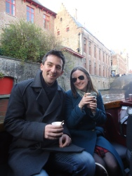Hot chocolate on a tourist canal boat