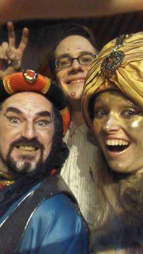 On stage selfie: Abanazar, Neil (the IT helpdesk support) and myself the Genie of the Ring