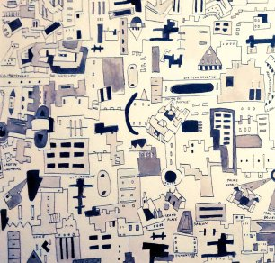 Brussels City Map 30x30cm Pen and Ink Feb 2015