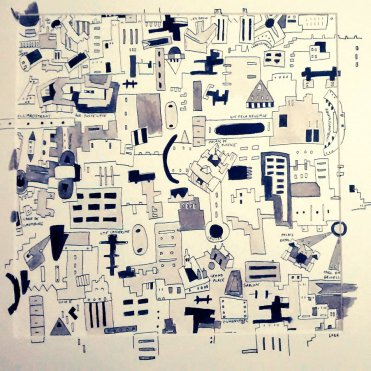 Brussels City Map (framed) 30x30cm Pen and Ink Feb 2015