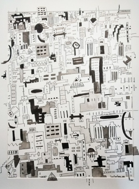 City Life 2015 in a Frame Pen and Ink 30x40cm