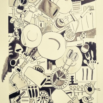 Kitchen Items 20x29cm (framed) Pen and Ink Feb 2015