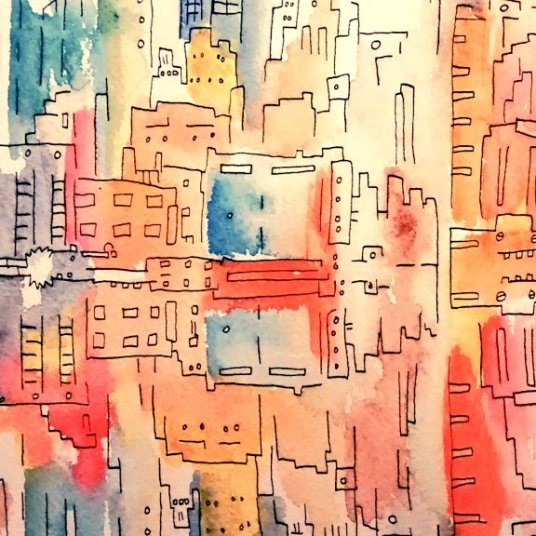 NY Reflections Pen and Ink 20x30cm Mar 2015